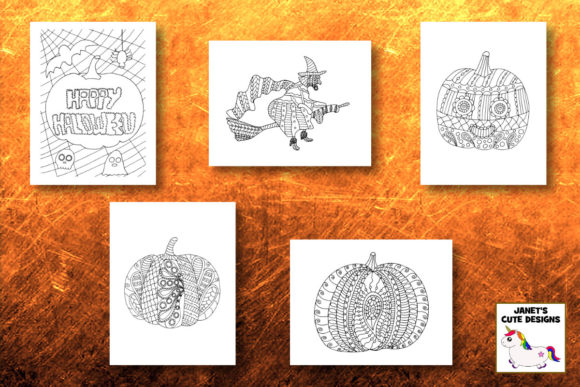 Halloween Coloring Pages Graphic Item