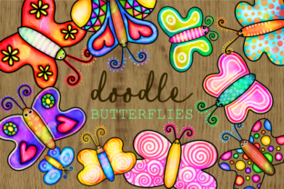 Print on Demand: Hand Drawn Doodle Watercolor Butterflies Graphic Illustrations By Prawny