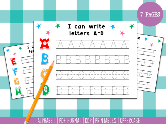 Handwriting Practice a-Z Monster Themed Graphic PreK By Miss Cherry Designs