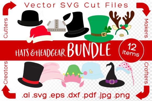 Print on Demand: Hats and Headgear Bundle Cut Files Graphic Illustrations By iBearToo