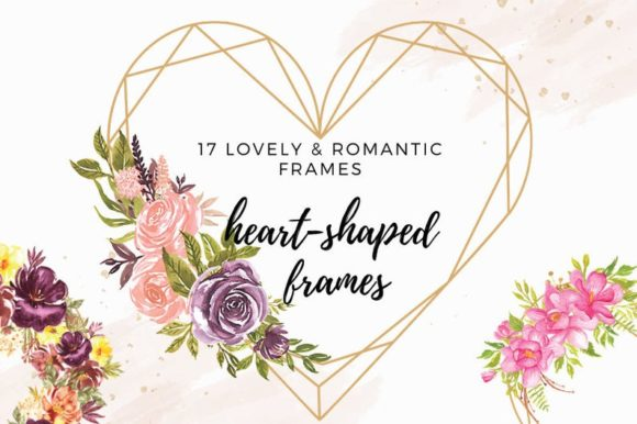 Heart Shaped Watercolor Flowers Frames Graphic Illustrations By Aneta Design