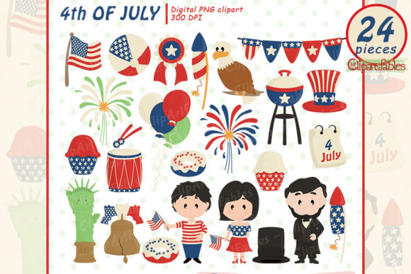 Independence Day Clipart, 4th of July Graphic Illustrations By clipartfables