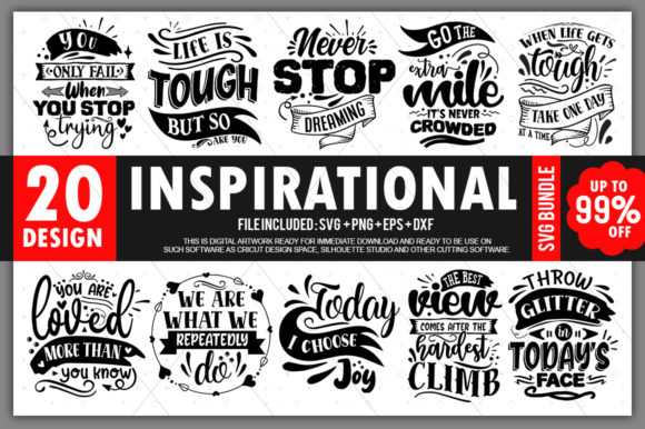 Print on Demand: Inspirational Quotes Bundle Vol.1 Graphic Crafts By PrintableSvg