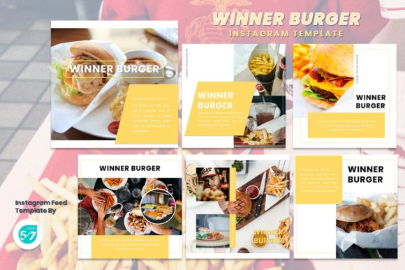 Instagram Feed Template - Winner Burger Graphic Presentation Templates By 57creative