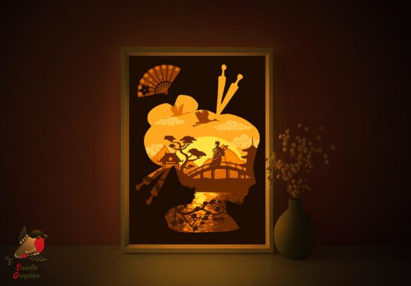 Japanese Sakura Landscape Light Box Graphic 3D Shadow Box By SweetieGraphics