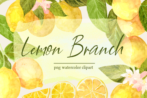 Print on Demand: Lemon Branch Botanical Watercolor Set Graphic Illustrations By roselocket