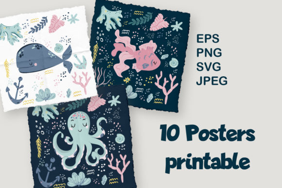 Print on Demand: Marine Animals Printable Posters Set Graphic Illustrations By Zolotovaillustrator