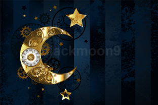 Mechanical Moon ( Steampunk Crescent ) Graphic Illustrations By Blackmoon9
