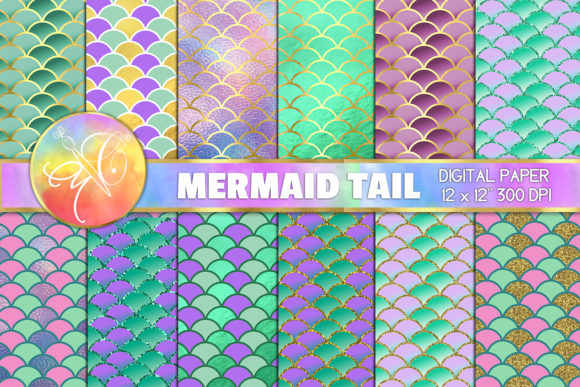 Mermaid Scales Digital Paper Graphic Backgrounds By paperart.bymc