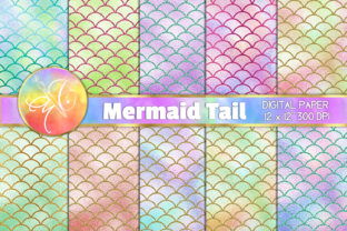 Mermaid Tails Pastel Color Digital Paper Graphic Backgrounds By paperart.bymc