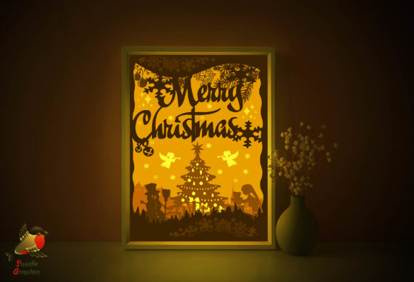 Merry Christmas 3D Light Box Template Graphic 3D Shadow Box By SweetieGraphics