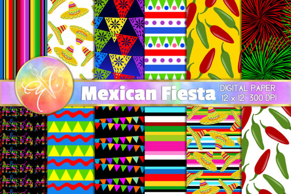 Mexican Fiesta Digital Paper Graphic Backgrounds By paperart.bymc