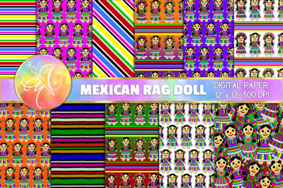 Mexican Rag Doll Digital Paper Graphic Backgrounds By paperart.bymc