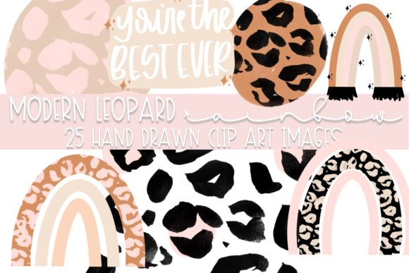 Modern Leopard Rainbow Clip Art Graphic Illustrations By Fairways and Chalkboards