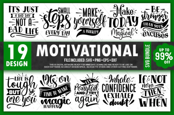 Print on Demand: Motivational Quotes Bundle Graphic Crafts By PrintableSvg