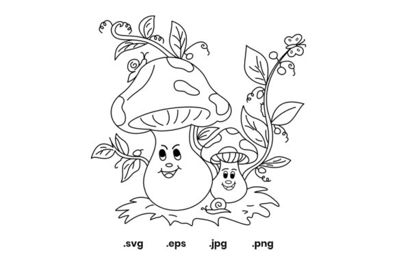 Print on Demand: Mushroom Coloring Page for Kids Graphic Coloring Pages & Books Kids By doridodesign