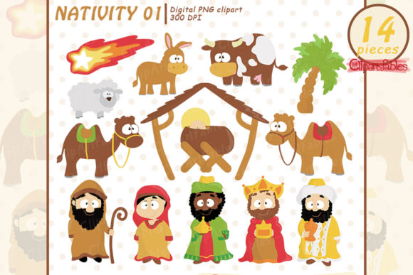 Nativity Clipart, Cute Baby Jesus Design Graphic Illustrations By clipartfables