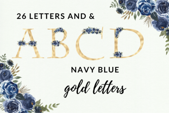 Navy Blue Watercolor Flowers Alphabet Graphic Illustrations By Aneta Design
