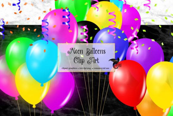 Print on Demand: Neon Balloons Clipart Graphic Illustrations By Digital Curio