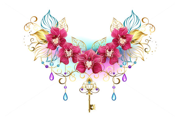 Orchids with Beads Graphic Illustrations By Blackmoon9