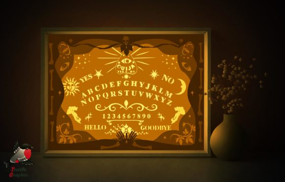 Ouija Board Light Box Halloween Template Graphic 3D Shadow Box By SweetieGraphics