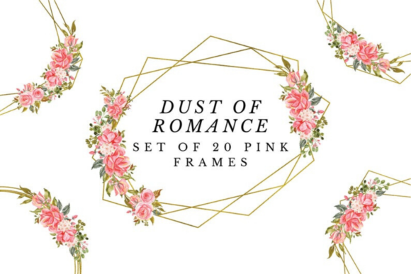 Pink Romantic Geometric Gold Frames Graphic Illustrations By Aneta Design
