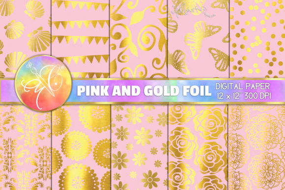 Pink and Gold Foil Digital Paper Graphic Backgrounds By paperart.bymc