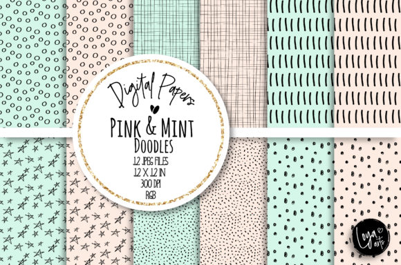 Print on Demand: Pink and Mint Doodles Digital Paper Set Graphic Backgrounds By loyaarts