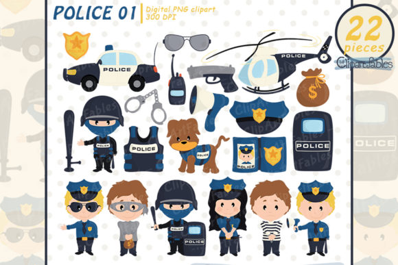 Police Clipart, Cute Policeman, Bandit Graphic Illustrations By clipartfables
