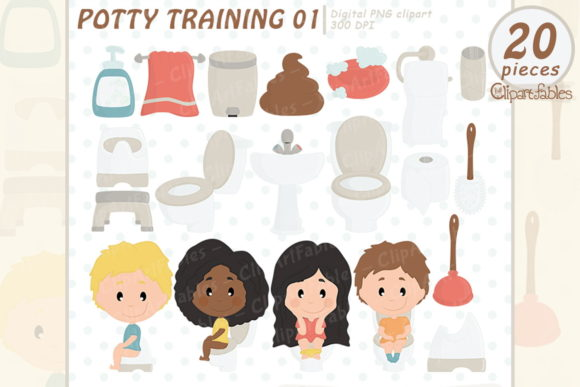 Potty Training Clipart, Education Graphic Illustrations By clipartfables