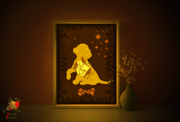 Puppy Dog 3D Light Box Template Graphic 3D Shadow Box By SweetieGraphics