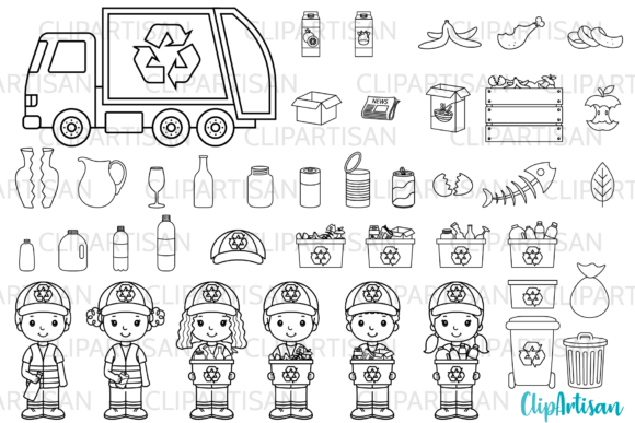 Recycling Clip Art Digital Stamps Graphic Illustrations By ClipArtisan