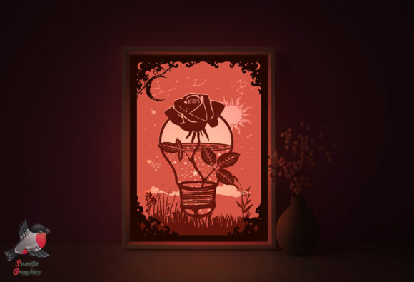Rose Galaxy Flower 3D Light Box Template Graphic 3D Shadow Box By SweetieGraphics