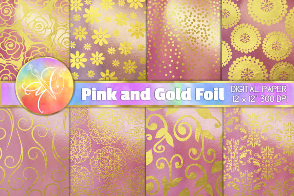 Rose Gold Foil Digital Paper Graphic Backgrounds By paperart.bymc