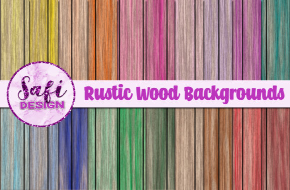 Print on Demand: Rustic Wood Backgrounds Graphic Backgrounds By Safi Designs