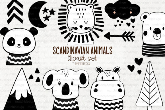 Print on Demand: Scandinavian Animals Clipart Set Graphic Illustrations By Mutchi Design
