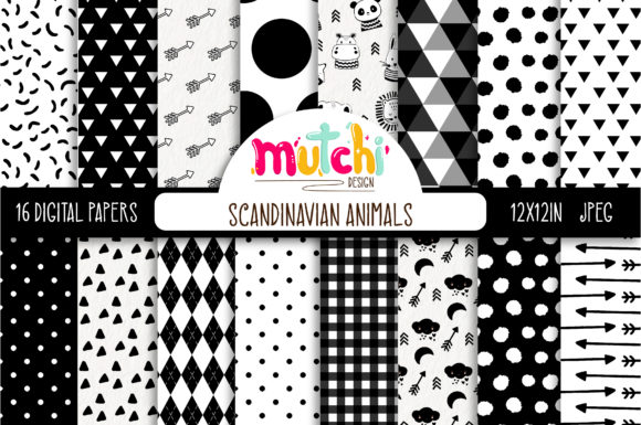 Print on Demand: Scandinavian Animals Digital Paper Set Graphic Backgrounds By Mutchi Design