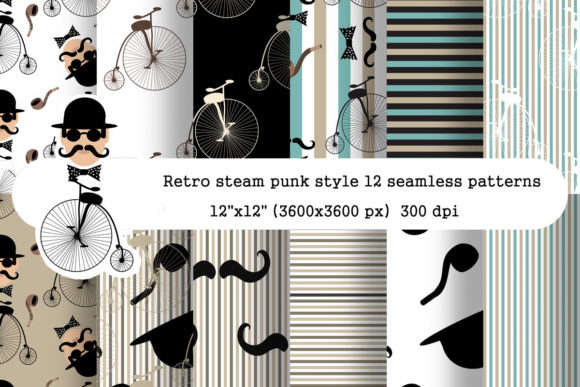 Seamless Steampunk Patterns Pack Graphic Patterns By arevkasunshine