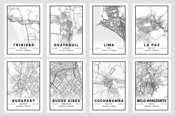 Print on Demand: South America Light City Map  By tienstencil