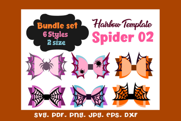 Spider 02 - (6) Style  Hair Bow Template Graphic 3D SVG By momstercraft