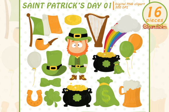 St. Patrick's Day Clipart, Leprechaun Graphic Illustrations By clipartfables
