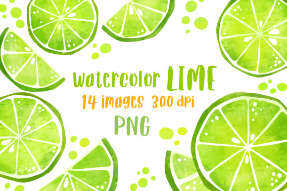 Summer Clipart Watercolor Lime Clipart Graphic Illustrations By GreenWolf Art
