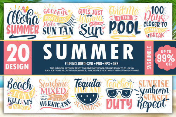 Print on Demand: Summer Quotes Bundle Graphic Crafts By PrintableSvg