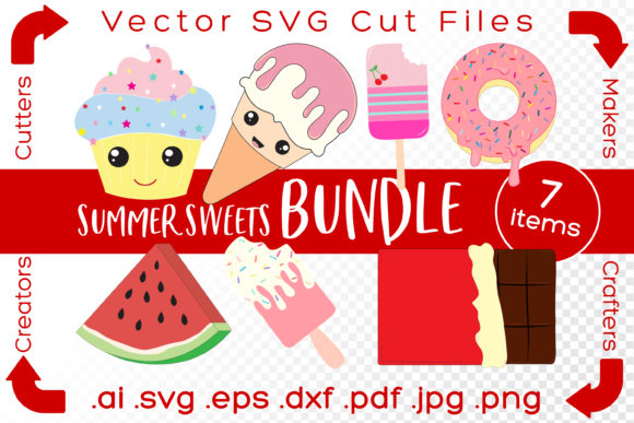 Print on Demand: Summer Sweets Bundle Cut Files DIY Graphic Illustrations By iBearToo