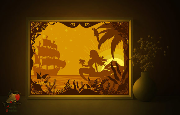 Sunset Mermaid Beach Light Box Template Graphic 3D Shadow Box By SweetieGraphics