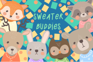 Print on Demand: Sweater Buddies Woodland Animals Clipart Graphic Illustrations By JM_Graphics