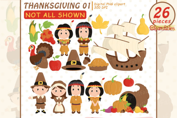 Thanksgiving Day Clipart, Autumn Design Graphic Illustrations By clipartfables