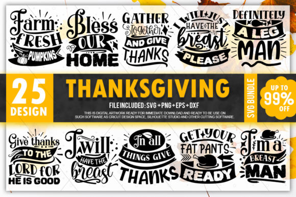 Print on Demand: Thanksgiving Quotes Bundle Graphic Crafts By PrintableSvg