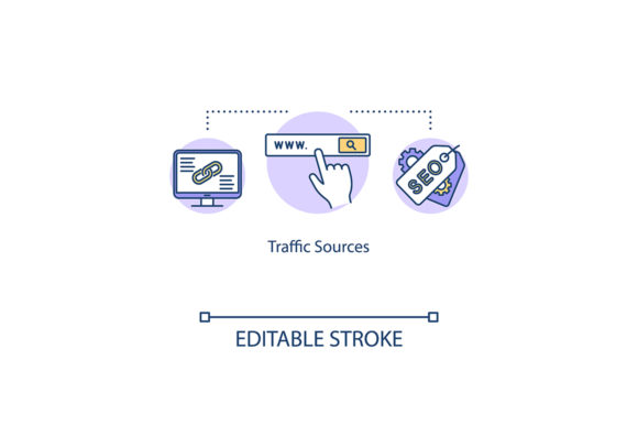 Print on Demand: Traffic Sources Concept Icon Graphic Icons By bsd studio