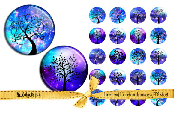 Print on Demand: Tree Silhouettes in Blue Round Images Graphic Crafts By CatgoDigital